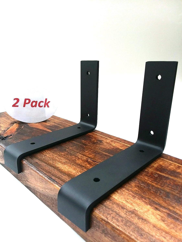 2 Pack 5.5x4 Lip Wall Shelf Brackets Angle Metal Shelve Modern Industrial Rustic