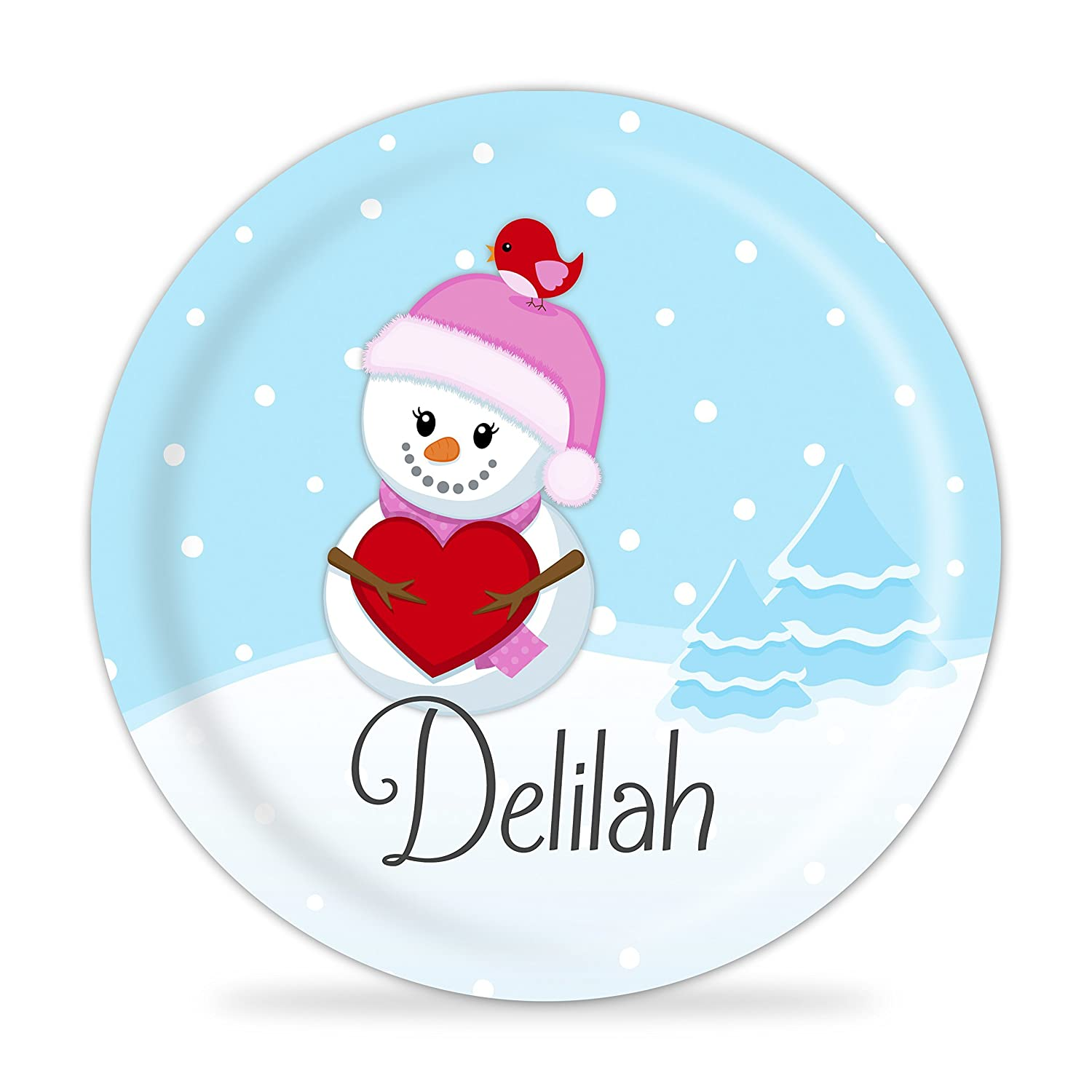 Winter Snowman Plate - Christmas Pink Snowman Melamine Personalized Plate