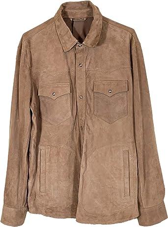 MASSIMO DUTTI 3308/239/742 - Camiseta de Ante para Hombre con Bolsillos - Marrón - Large: Amazon.es: Ropa y accesorios