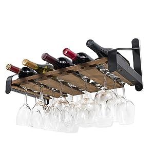 Rustic State Wall Mounted Wood Wine or Liquor Bottle Storage Holders | Stemware Racks Organizer (Walnut)