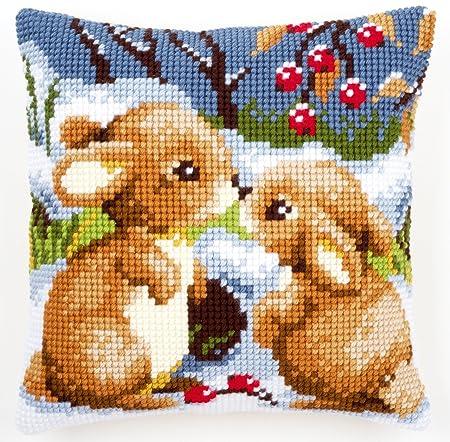 Vervaco - Kit para cojín de Punto de Cruz, diseño de Conejos con Nieve, Multicolor