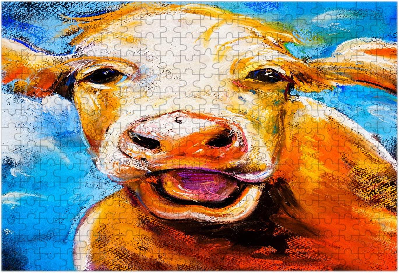 Moslion Cow Jigsaw Puzzles Rustic Farm Animal Oil Painting Modern Art Cool Design Fashion Cute Personalized Puzzle Hobbies Home Decor Wall Art for Boys Girls Adult
