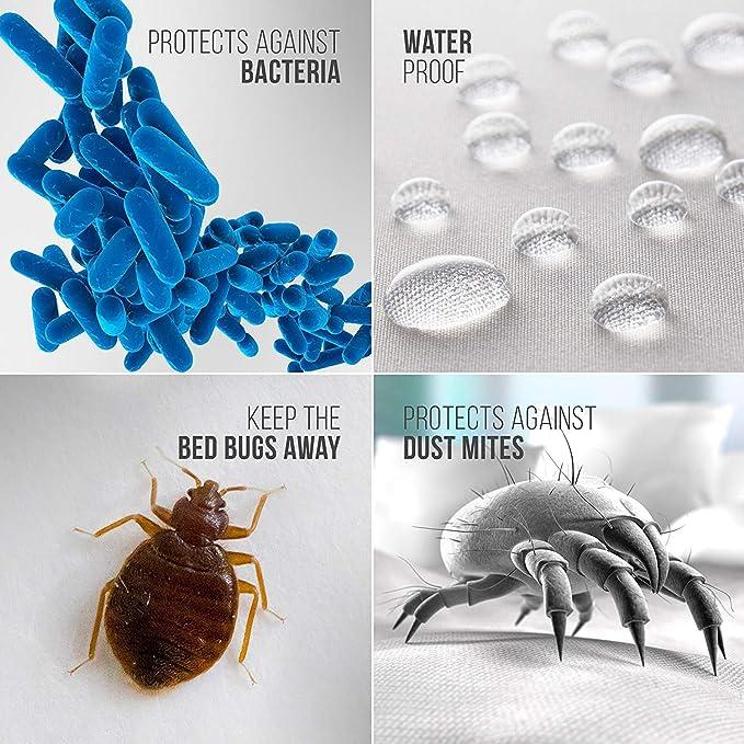 Bedding Care Uk - Funda de colchón Impermeable antialérgico con Protector de Cremallera para Polvo, bacterias, Insectos, Cubierta antichinches, ...