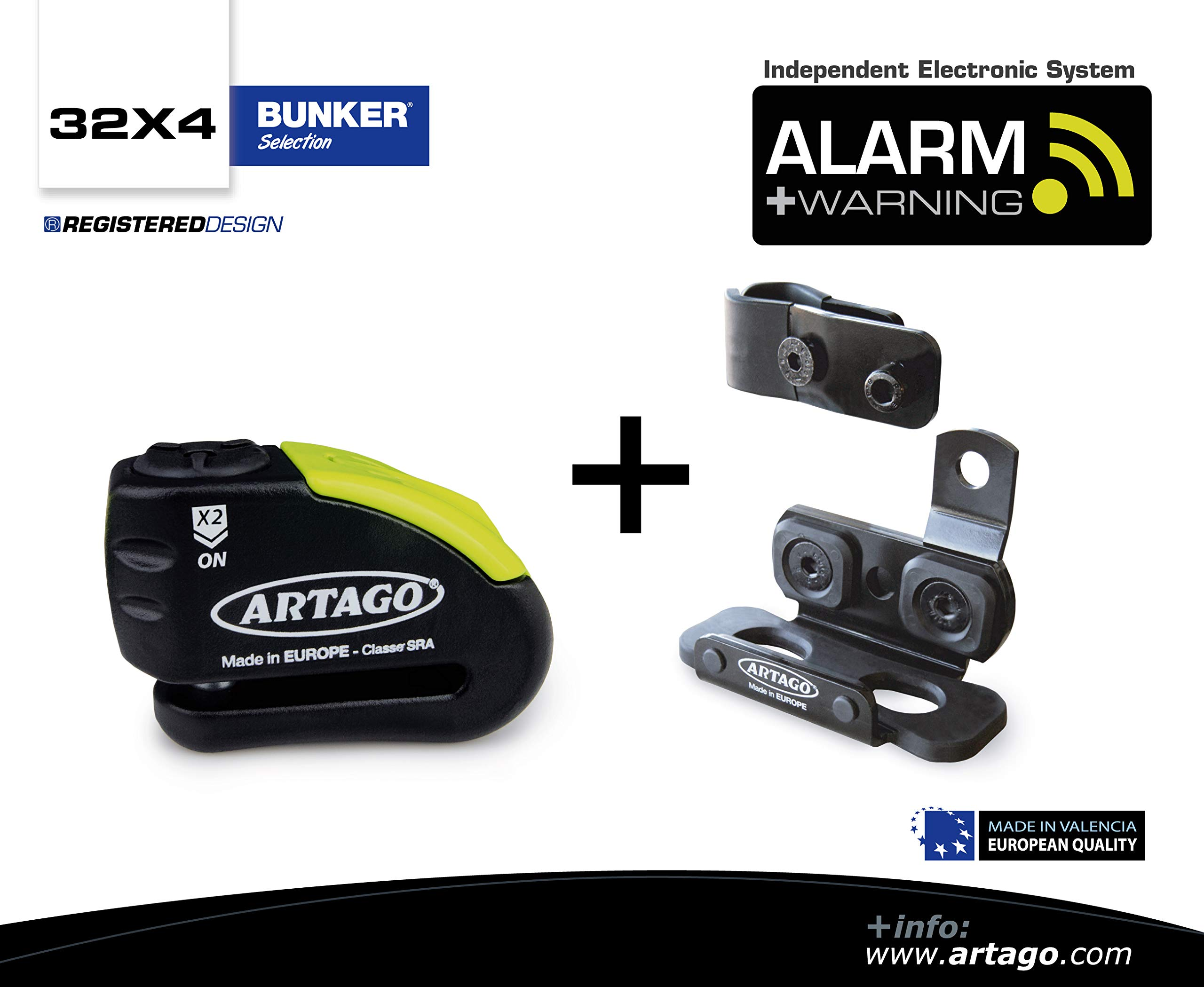 Artago 30X4 Anti-Theft Disc Lock with Alarm 120db High Range and Support for Honda Africa Twin 2016 2018, ø14 Double Closure, SRA and Sold Secure Gold, Bunker Selection