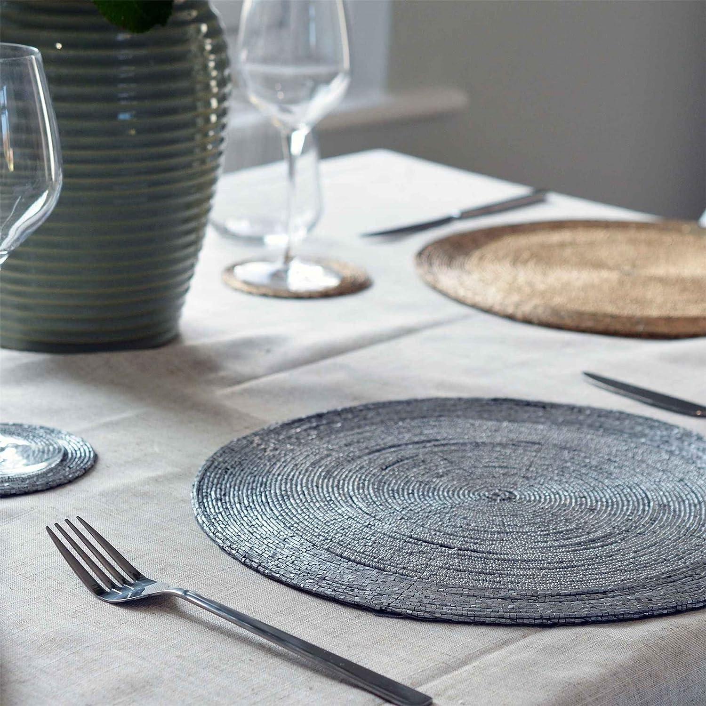 Argon Tableware Kreisförmige Platzdeckchen Perlen mit Gewebeeinlage - Silber Silber Silber - 300mm - 6er Pack B077P82W8N Platzsets 966c03