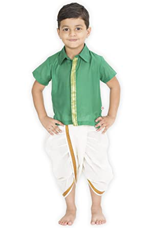 5c4c4a736f ETHNICAL KIDS Boys' Indian Ethnic Wear Artificial Silk Green Shirt with  Off-White Cotton