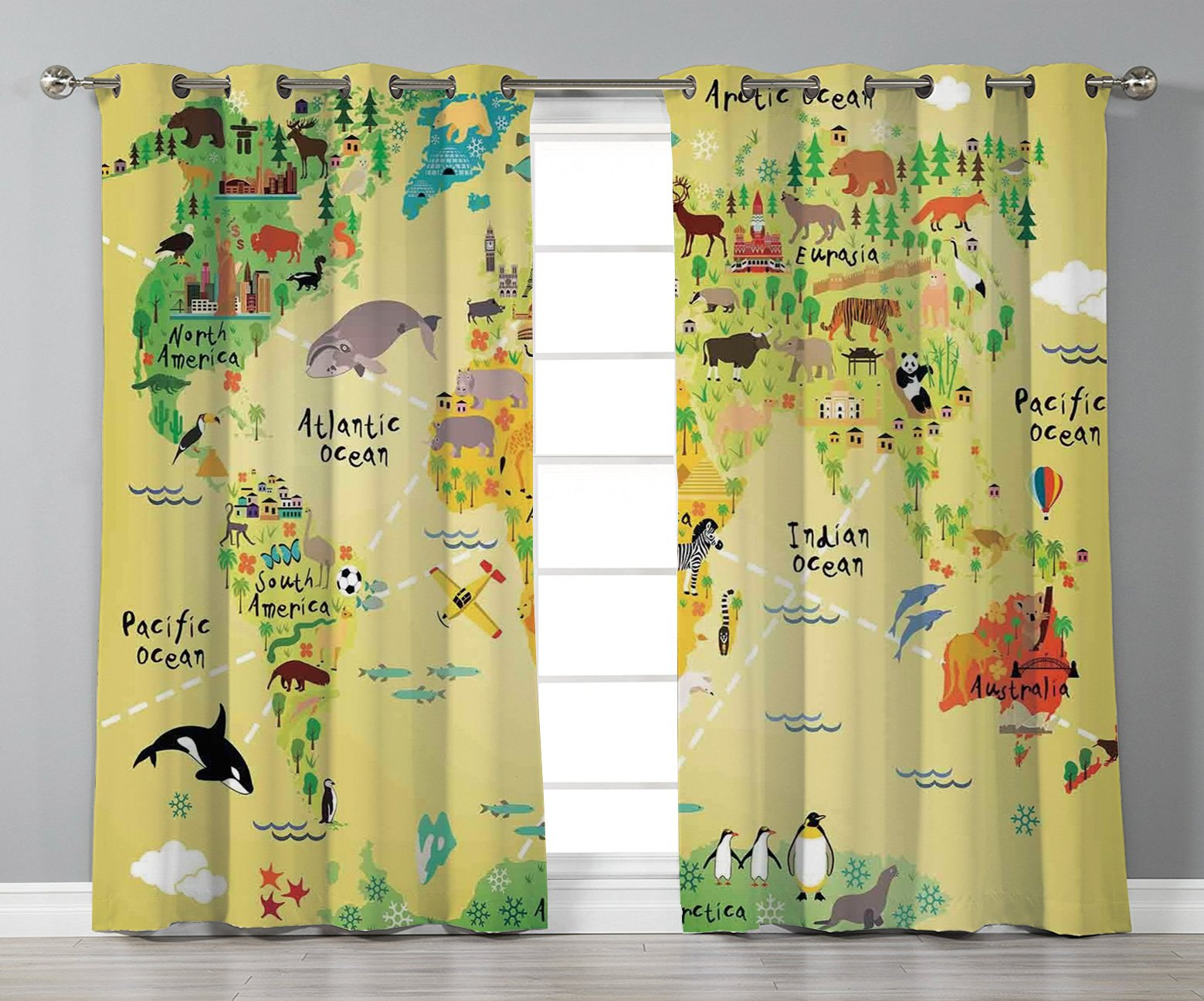 Thermal Insulated Blackout Grommet Window Curtains,Kids Decor,Educational World Map Africa America Penguins Atlantic Pacific Ocean Animals Australia Panda Decorative,2 Panel Set Window Drapes,for Liv