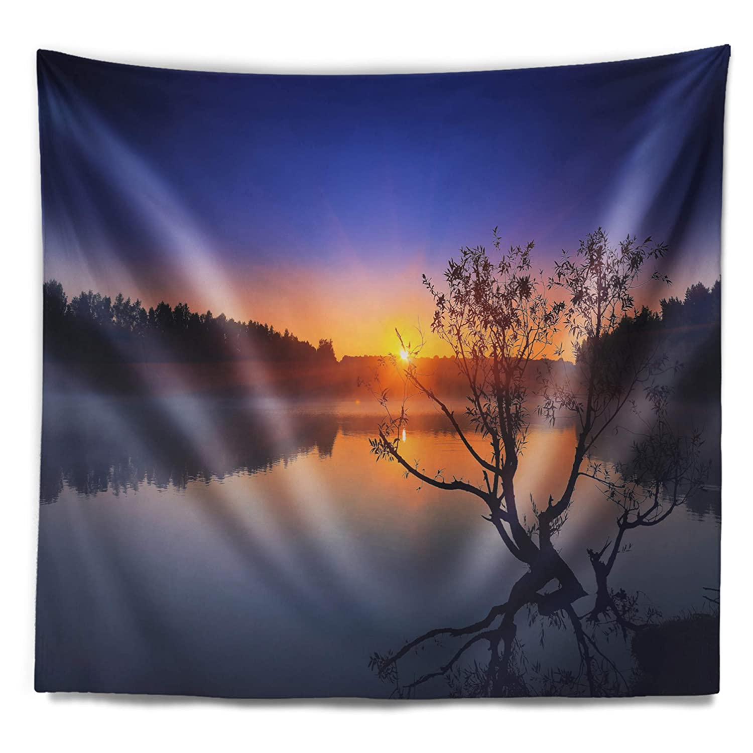 Designart TAP10768-39-32  Lonely Tree in Pond in Blue Landscape Blanket D/écor Art for Home and Office Wall Tapestry Medium 39 in x 32 in Created On Lightweight Polyester Fabric