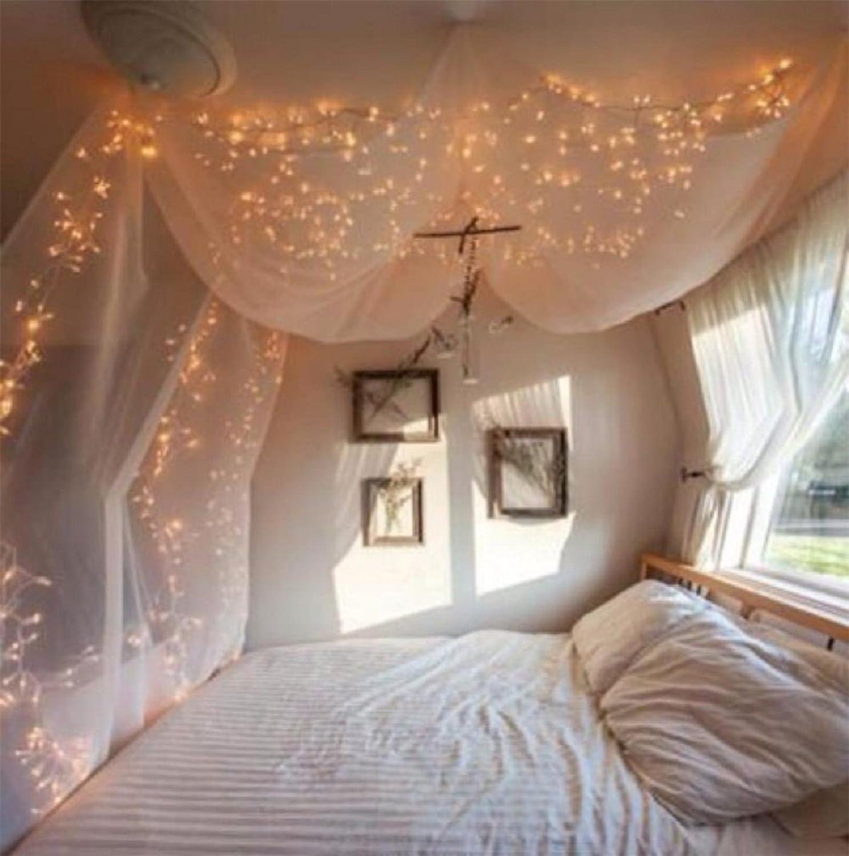 Romantisches bett mit lichterkette  Lichterkette LED 100er Innen Warmweiß Romantisch Strombetrieben ...