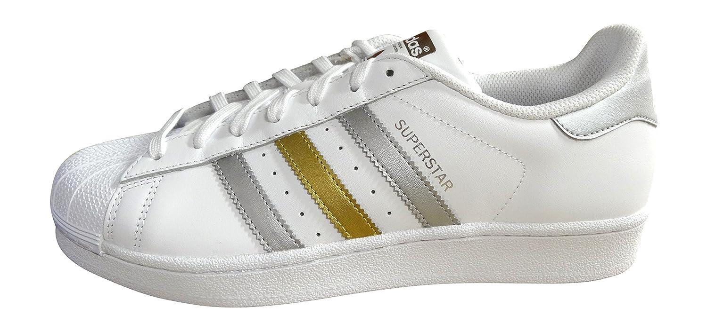adidas Originals Herren Sneakers Superstar Ray Blue S75881 Weiss Silber Gold Bb4882