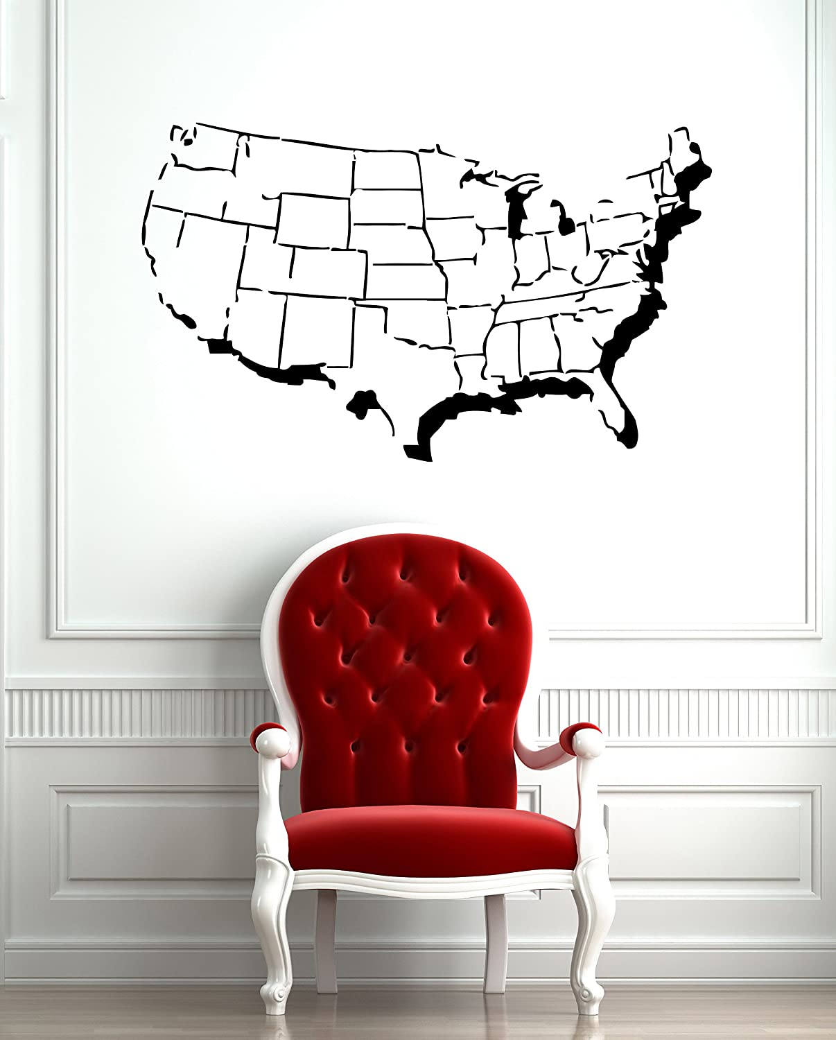 amazon com united states of america usa map with states outline amazon com united states of america usa map with states outline design wall mural vinyl decal sticker m305 22 5 in by 35 in home kitchen
