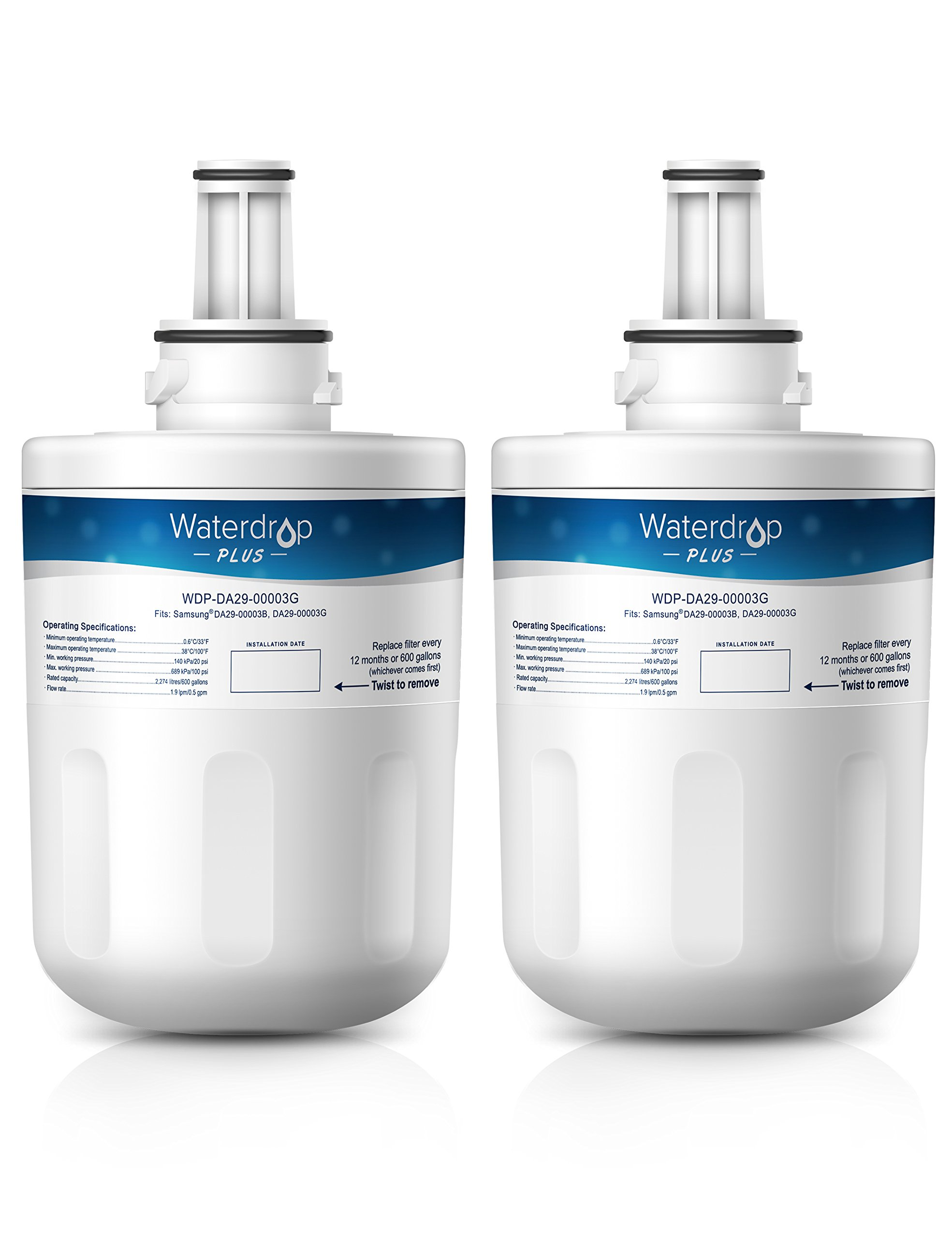 Waterdrop Plus DA29-00003G Double Lifetime Replacemnet Refrigerator Water Filter, Compatible with Samsung DA29-00003G, Aqua-Pure Plus DA29-00003B, HAFCU1, DA29-00003A (2 Pack)
