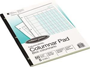 Wilson Jones G7205A Accounting Pad, Five Eight-Unit Columns, 8-1/2 x 11, 50-Sheet Pad (WLJG7205A)