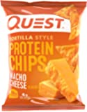 Quest Nutrition Protein Tortilla Chips, Nacho Cheese, 18g Protein, 4g Net Carbs, 140 Calories, Low Carb, Gluten Free, Soy Free, Potato Free, Baked, 1.2oz Bag, 8 Count