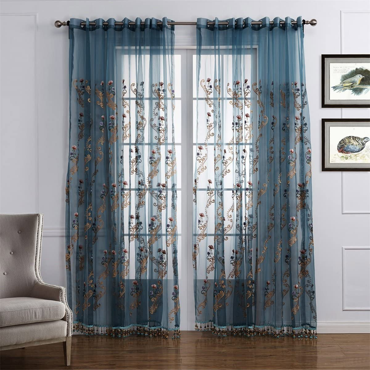 Dreaming Casa Solid Semi Sheer Curtain Floral Embroidery Voile Window Treatment Panels 84 Inches Long for Bedroom Living Room 1 Panel 52 W x 84 L Blue