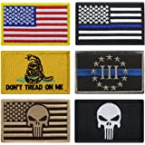 Bundle 6 Pieces Full Color USA American Thin Blue Line Police Flag Three Percenter Tactical Don't Tread On Me Fully…