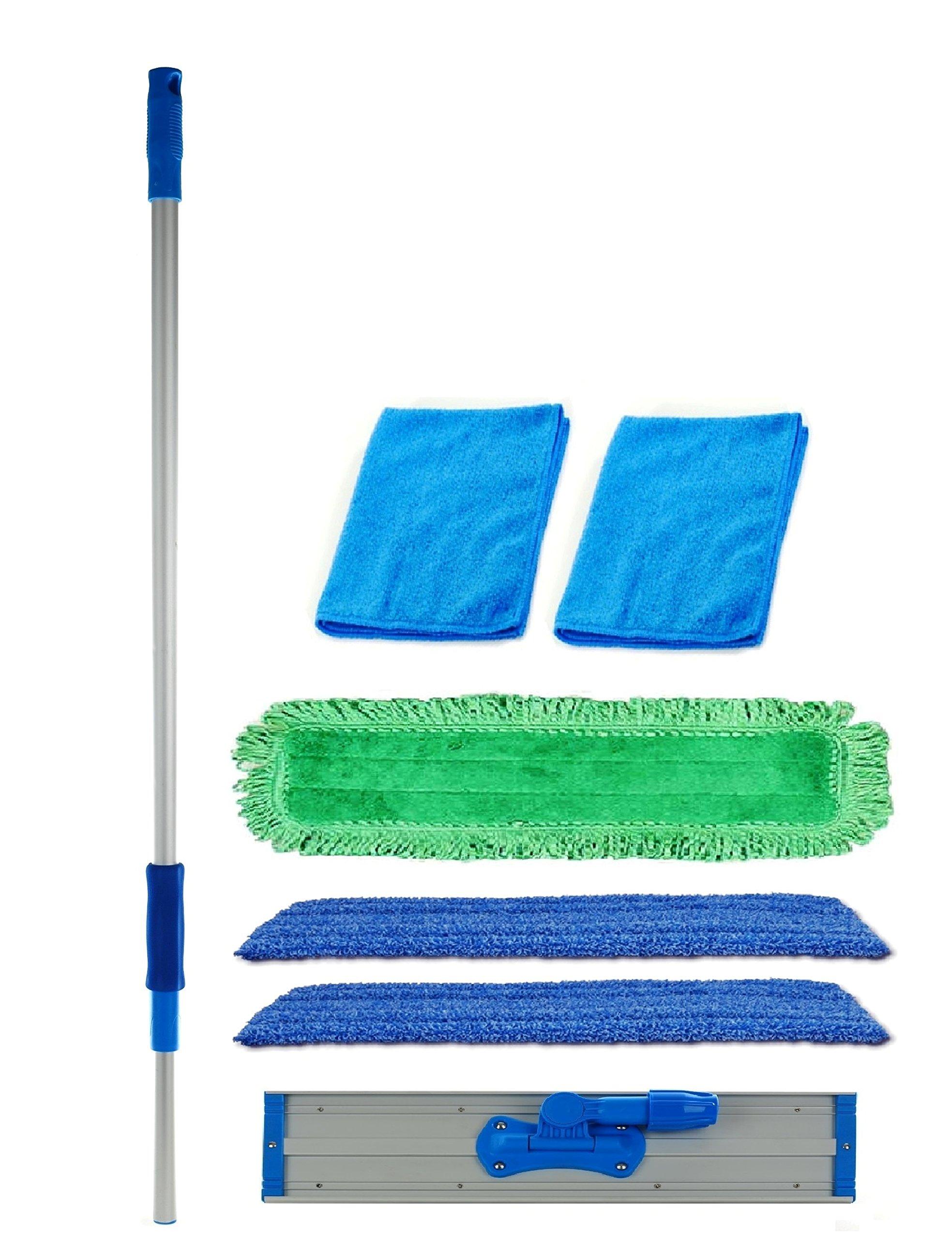 Real Clean 24 inch Professional Commercial Microfiber Mop With Three 24'' Premium Microfiber Mop Pads and 2 Bonus Microfiber Towels