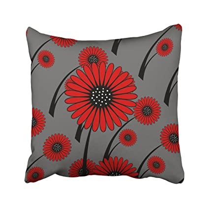 Admirable Pakaku Decorativepillows Case Throw Pillows Covers For Couch Bed 18 X 18 Inch Red Gray Black Floral Flowers Home Engagement Home Sofa Cushion Cover Machost Co Dining Chair Design Ideas Machostcouk