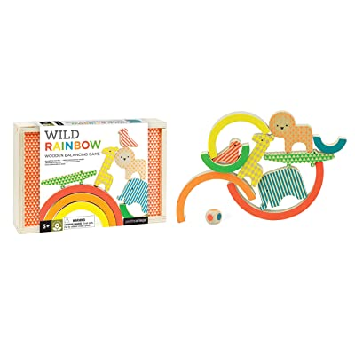 Petit Collage Eco Friendly Wild Rainbow Wooden Balancing Game, Ages 3+, 2-4 Players: Toys & Games