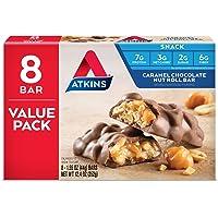 Atkins 8 Count Caramel Chocolate Nut Roll Keto Friendly Snack Bar