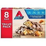 Atkins Snack Bar, Caramel Chocolate Nut Roll, 8 Count