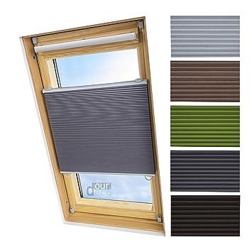 super günstig im vergleich zu präsentieren ziemlich cool ourdeco® Universal Dachfenster Thermo-Wabenplissee/55 x 141 cm grau(Breite  x Höhe)/lichtundurchlässig, verdunkelnd, Thermo- und ...