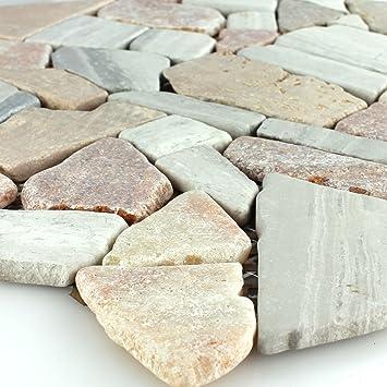 Marmor Bruch Antik Mosaik Fliesen Cotto Hellgrau Amazonde Baumarkt - Mosaik fliesen terracotta
