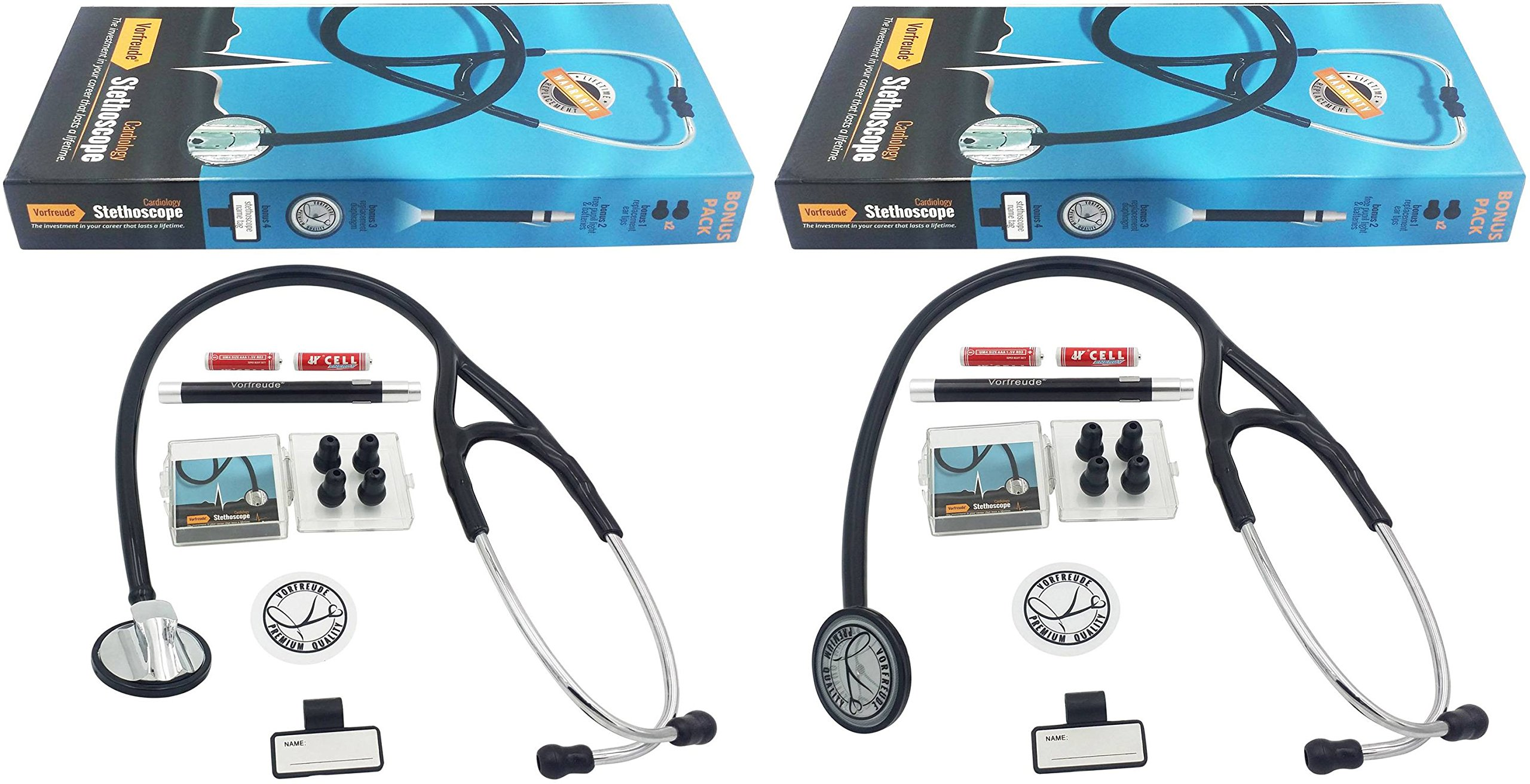 Vorfreude Cardiology Stethoscope Lifetime Replacement Guarantee (27'' Black) Bonus: Name Tag, Classic Pupil Pen Light, Batteries, Spare Diaphragm and 6 Eartips. (Total Qty 2 Kits) by Vorfreude