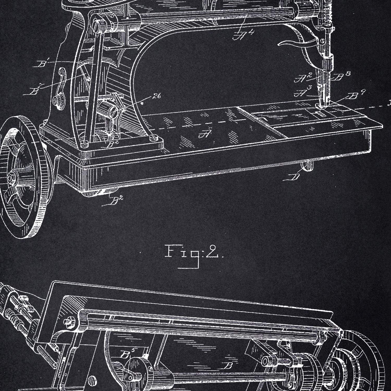 Nacnic Poster con Patente de Maquina de Coser. Lámina con diseño de Patente Antigua en tamaño A3 y con Fondo Negro: Amazon.es: Hogar