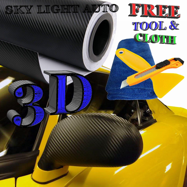 5ft X 9ft Black 4D GLOS Carbon Fiber Vinyl Air Release Pockets Bubble Free