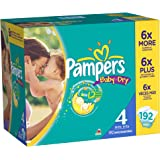 Pampers Baby Dry Diapers, Size 4, 192 Count