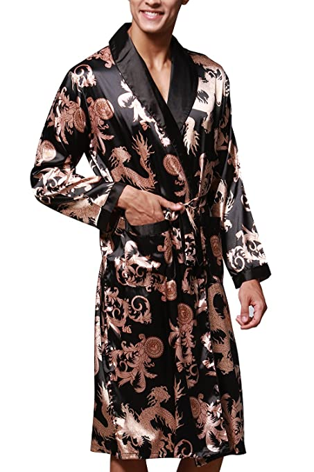 Dolamen Mens Dressing Gown Bathrobe Satin, Kimono Bath Robe Housecoat Nightwear Pyjamas at Amazon Mens Clothing store: