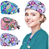 ZukoCert 3 Pack Adjustable Bouffant Hats with Buttons Working Cap with Sweatband for Women Men Working Head Cover