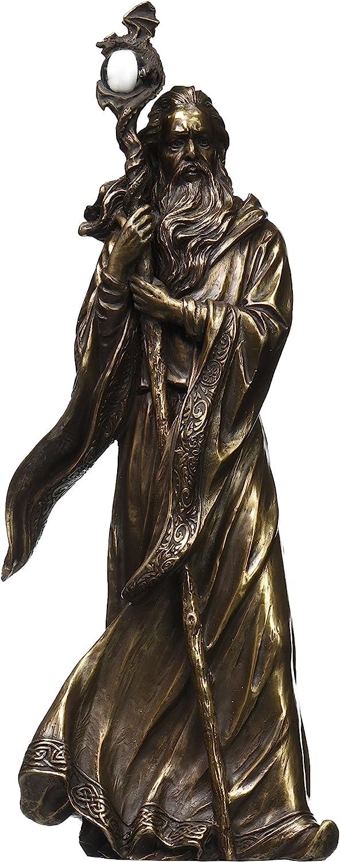 UNICORN STUDIO 11.75 Inch Cold Cast Bronze Color Merlin Figurine Statue Home Decor