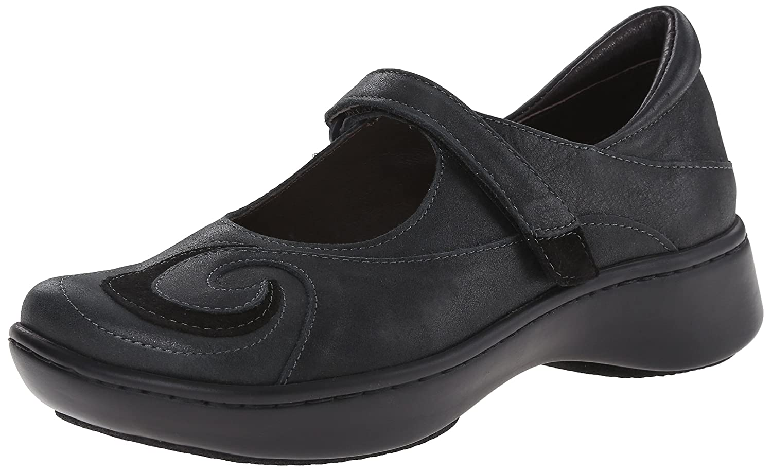 NAOT Women's Sea Mary Jane Flat B00B21LQA4 39 M EU|Shiny Black Leather/Black Suede