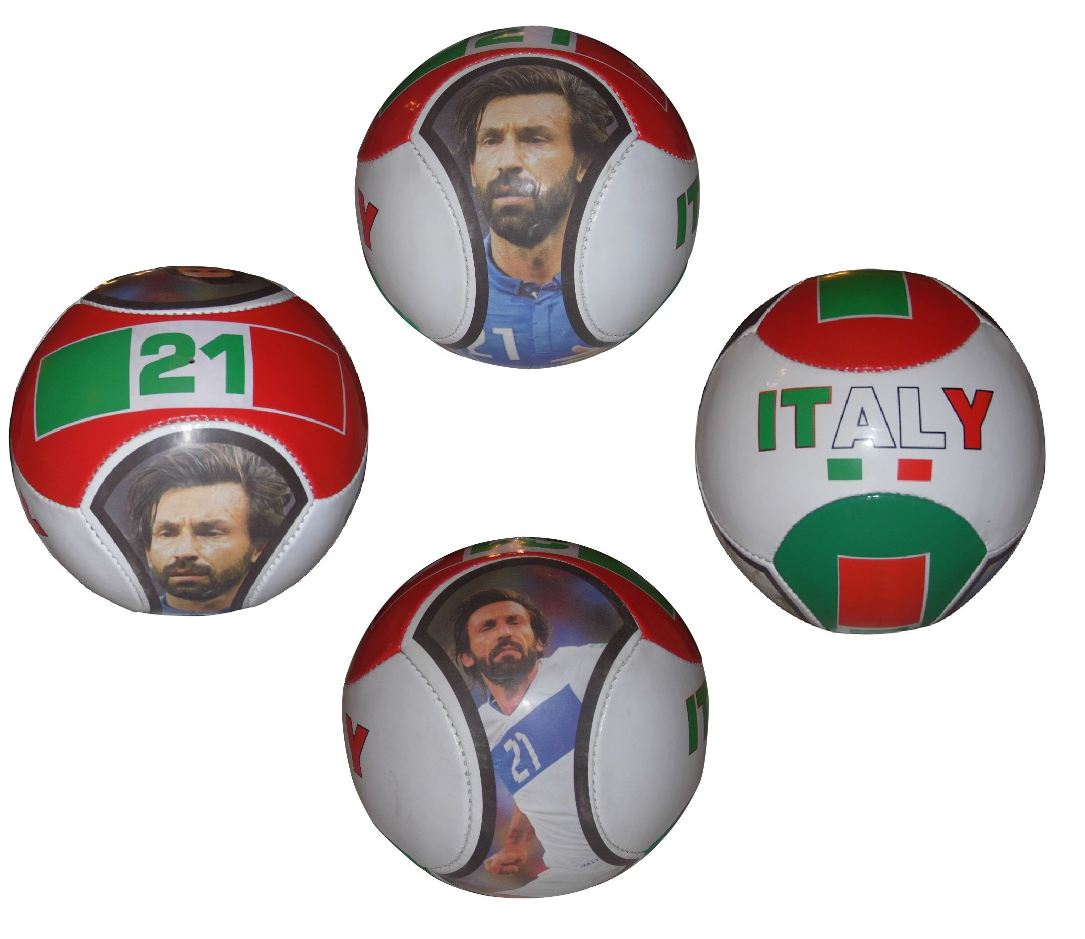 Forever Fanatics Italy Pirlo #21 Soccer Ball Kids & Adult Size 5 ✓ Best Gift For Fans ✓ Unique 6 Panel Design ✓ Durable Soft Touch Construction (Size 5, Italy Pirlo #21)