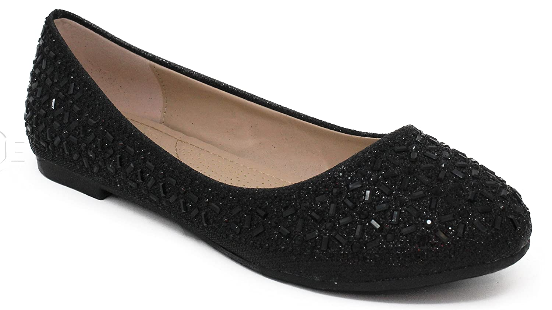 MVE Shoes Women's Crystal Rhinestone Slip On- Formal Glitter Flats B07B1HCBTS 7.5 B(M) US|Black*j