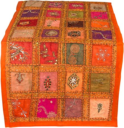 "Orange Table Runner 100% Cotton 20"" x 60"" Hand Embroidered Boho Bohemian Colorful Patchwork Modern Floral Pattern Decoration Wedding Reception Party Decor Tapestry"