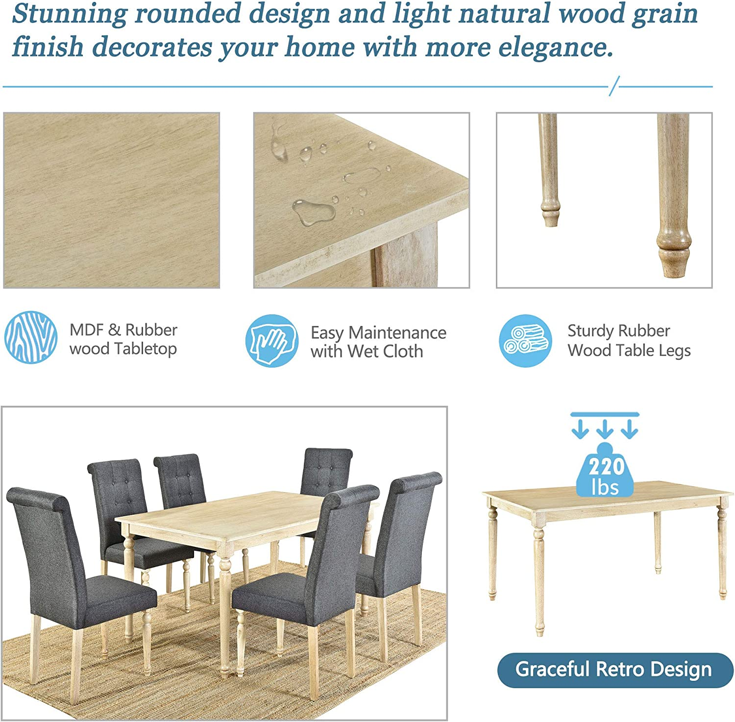 LZ LEISURE ZONE Dining Table Set 9 Piece Kitchen Table Set Wood ...