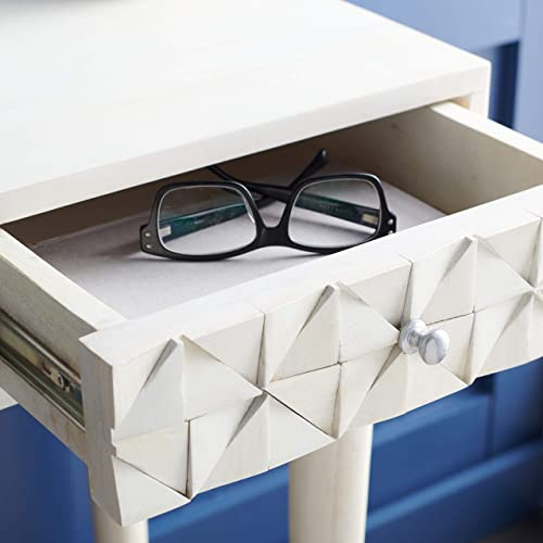 Safavieh Home Office Collection Zinnia White Wash and Silver 1-Drawer Desk