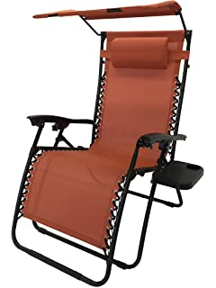 Deluxe Oversized Extra Large Zero Gravity Chair With Canopy + Tray   Terra  Cotta