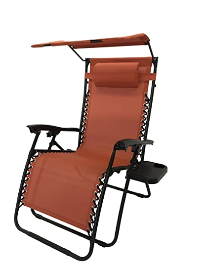 Styled Shopping Deluxe Oversized Extra Large Zero Gravity Chair With Canopy  + Tray   Terra Cotta