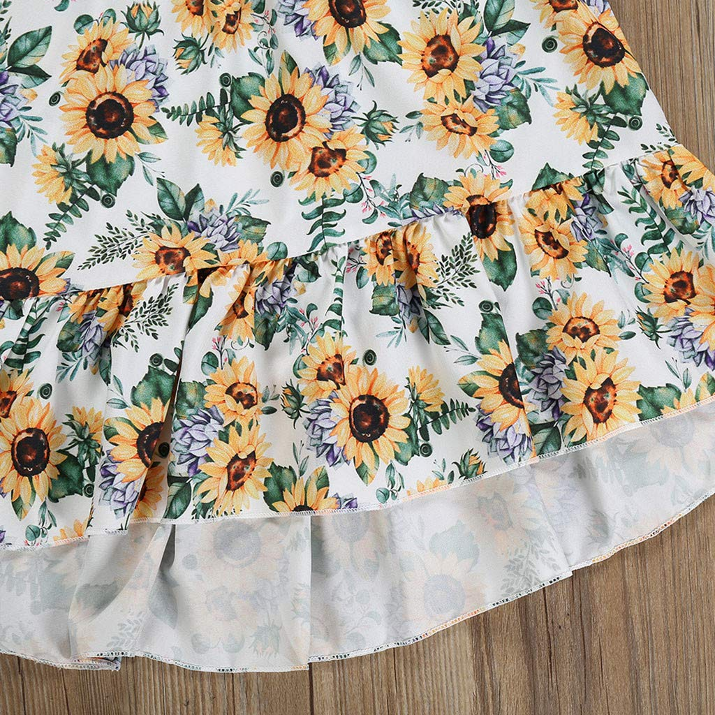 MOVEmen Baby Girls Solid Color Tops+Sunflower Print Skirts Sets Princess Dress Clothes Ruffles Pleated Skirt Tutu