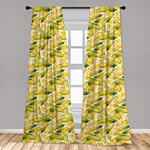 """Ambesonne Corn Curtains 2 Panel Set, Vegetable Organic Food Realistic Illustration Yellow Corn Stalks Agriculture, Lightweight Window Treatment Living Room Bedroom Decor, 56"""" x 63"""", Yellow Green White"""