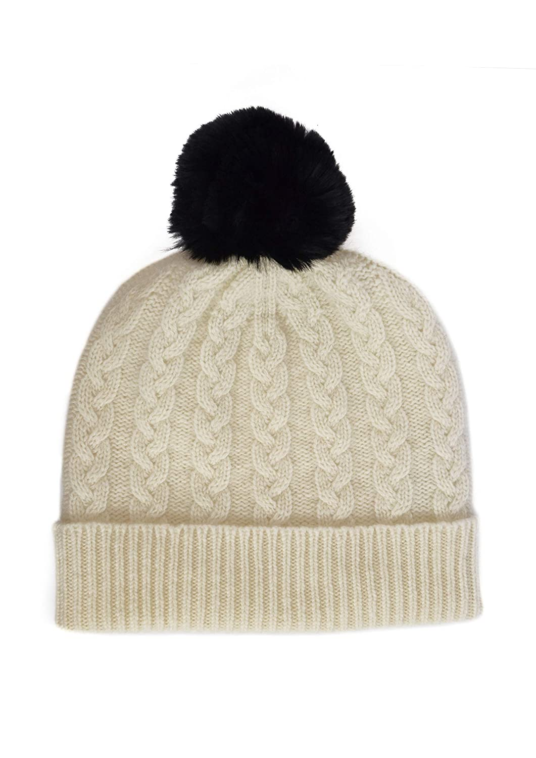 William Lockie Ladies Cashmere Cable Hat in White with Black Faux Fur Pom Pom Made in Scotland