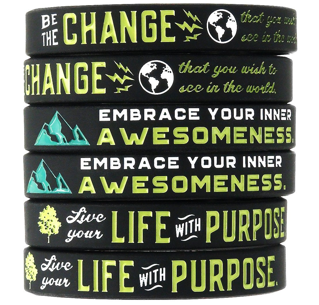(10-Pack) Positive Message Wristbands -Be the Change You Wish to See in the World, Embrace Your Inner Awesomeness, Live Your Life with Purpose - Bulk Wholesale Lot of Silicone Bracelets