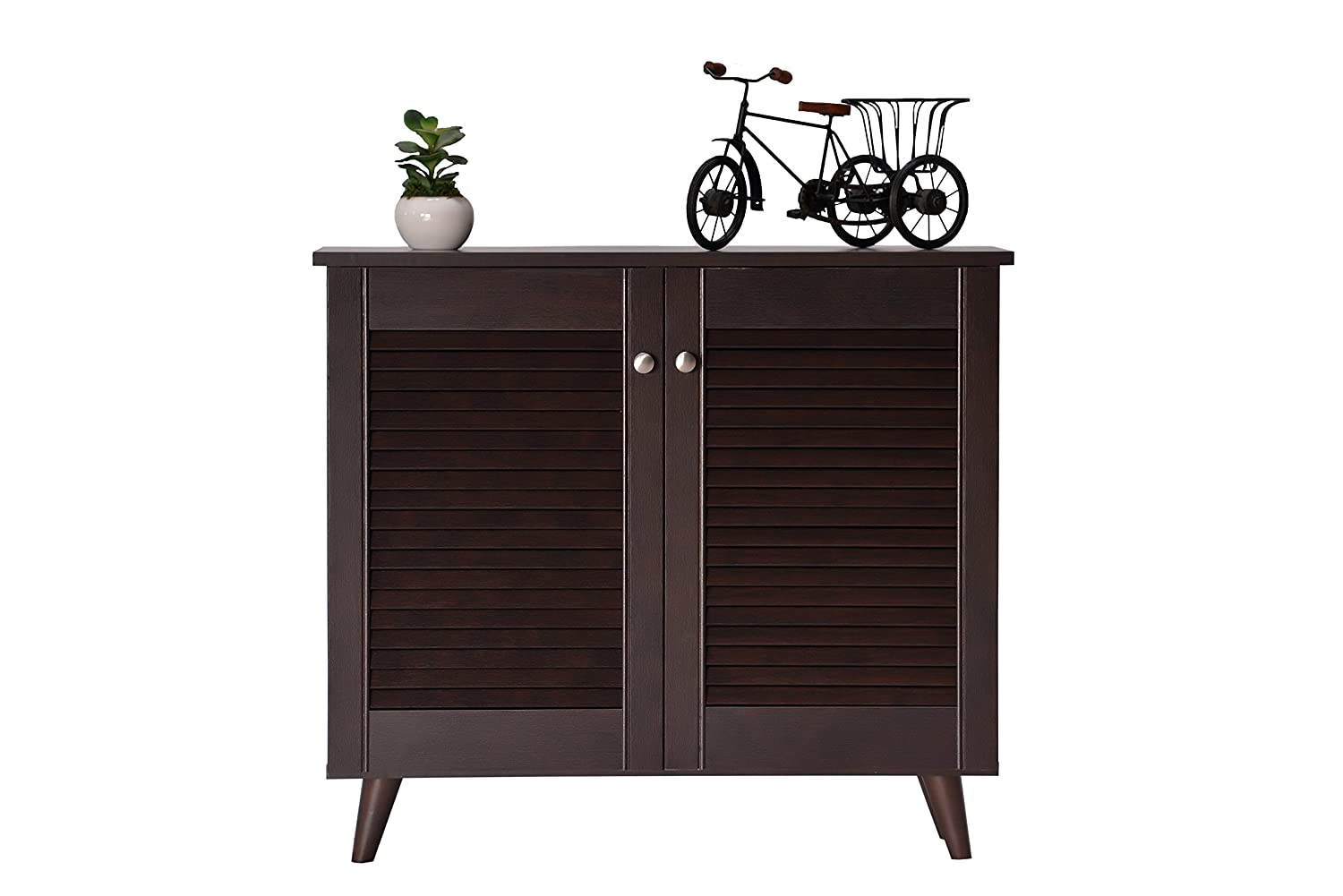 DeckUp Noordin 2-Door Shoe Rack/Cabinet (Dark Wenge, Matte Finish)