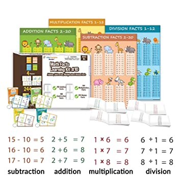 Little Champion Reader Math Facts Kit 10 (Math Flash Cards, Poster & Book  Learning Set) - 100 Addition Facts, 100 Subtraction Facts, 144 ...