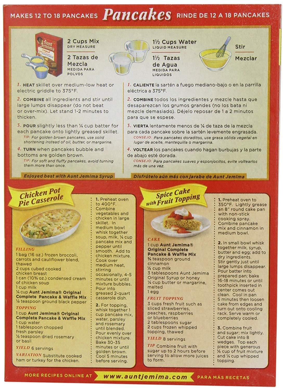 Amazon.com : Aunt Jemima Complete Pancake and Waffle Mix 2lb (907g ...