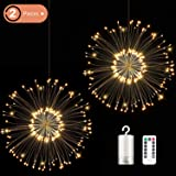 2 Packs LED Firework Copper Lights, 120 LED Decorative Lights, 8 Modes Dimmable LED String Lights with Remote Control, Hanging Lights for Parties, Home, Outdoor Decoration (Warm White)